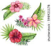 set of watercolor bouquets with ... | Shutterstock . vector #598921178