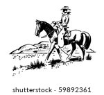 the great outdoors   cowboy on... | Shutterstock .eps vector #59892361