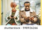 multiracial hipster friends... | Shutterstock . vector #598926266