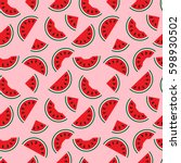 watermelons  whole and bitten... | Shutterstock .eps vector #598930502