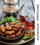 tea with mint in arab style and ... | Shutterstock . vector #598931468