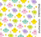pastel easter chicks   Shutterstock .eps vector #598932968