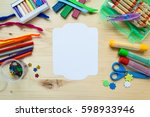 vintage frame with colorful... | Shutterstock . vector #598933946