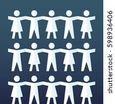 paper doll people grop  holding ... | Shutterstock .eps vector #598936406