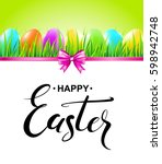 happy easter card with colorful ... | Shutterstock .eps vector #598942748
