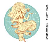 hand drawn beauty mermaid with... | Shutterstock .eps vector #598944026