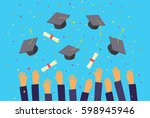 concept of education. graduates ... | Shutterstock .eps vector #598945946