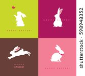 set of four white bunny... | Shutterstock .eps vector #598948352
