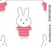 rabbit pattern rabbit cartoon... | Shutterstock .eps vector #598948508