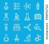 scientific icons set. set of 16 ... | Shutterstock .eps vector #598952762