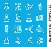 scientific icons set. set of 16 ... | Shutterstock .eps vector #598952762