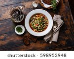 cold soup okroshka with sausage ... | Shutterstock . vector #598952948