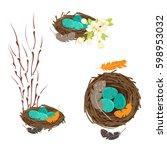 easter vector set. bird's nests ... | Shutterstock .eps vector #598953032