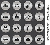 set of 16 editable trip icons.... | Shutterstock .eps vector #598956332