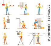 electrician in uniform and hard ... | Shutterstock .eps vector #598960172