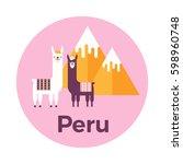 vector illustration stickers or ... | Shutterstock .eps vector #598960748