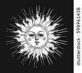 hand drawn sun with face and... | Shutterstock .eps vector #598961438
