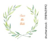 Hand drawn watercolor illustration. Laurel Wreath. Perfect for wedding invitations, greeting cards, blogs, posters and more
