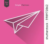 paper plane flat icon. simple... | Shutterstock .eps vector #598972862