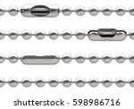 set of 4 seamless silver ball... | Shutterstock . vector #598986716