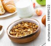 healthy food for breakfast on a ... | Shutterstock . vector #598989122