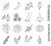 spice icons set. outline... | Shutterstock .eps vector #598989416