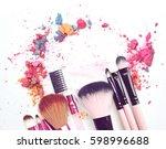 cosmetic powder brush crushed... | Shutterstock . vector #598996688