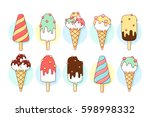 ice cream icons of different... | Shutterstock .eps vector #598998332