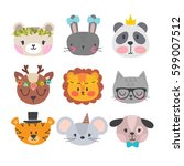 Stock vector cute animals with funny accessories set of hand drawn smiling characters cartoon zoo cat lion 599007512