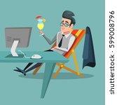 cartoon businessman relaxing at ... | Shutterstock .eps vector #599008796