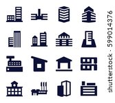buildings icons set. set of 16... | Shutterstock .eps vector #599014376