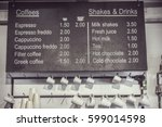 coffee menu  | Shutterstock . vector #599014598