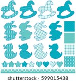 set with toys   horses  rabbits ... | Shutterstock .eps vector #599015438