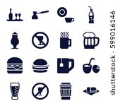 drink icons set. set of 16... | Shutterstock .eps vector #599016146