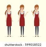 waitress woman in coffee shop... | Shutterstock .eps vector #599018522
