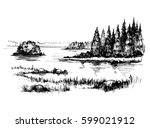 sketch of wild nature with lake ... | Shutterstock .eps vector #599021912