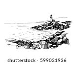 sea sketch with rocks and...   Shutterstock .eps vector #599021936