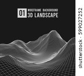 wireframe landscape background. ... | Shutterstock .eps vector #599027252
