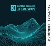 wireframe landscape background. ... | Shutterstock .eps vector #599027462