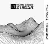 wireframe landscape background. ... | Shutterstock .eps vector #599027912