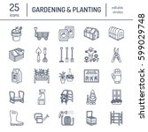 gardening  planting and... | Shutterstock .eps vector #599029748