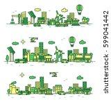 city landscape illustration.... | Shutterstock .eps vector #599041442