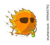 summer sun cartoon vector... | Shutterstock .eps vector #599045792