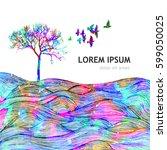 abstract rainbow tree. vector | Shutterstock .eps vector #599050025