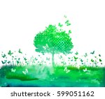 watercolor nature tree and... | Shutterstock .eps vector #599051162