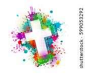 cross of paint stains. vector | Shutterstock .eps vector #599053292