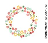 floral wreath | Shutterstock .eps vector #599054042