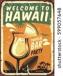 Hawaii Vintage Metal Sign For...