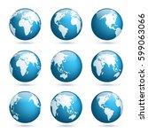 earth globe. world map set.... | Shutterstock .eps vector #599063066