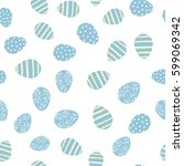 seamless pattern with easter... | Shutterstock .eps vector #599069342